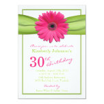 Pink Gerbera Daisy Orange Ribbon 30th Birthday 4.5x6.25 Paper Invitation Card
