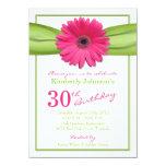 Pink Gerbera Daisy Orange Ribbon 30th Birthday Card