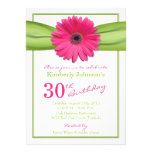 Pink Gerbera Daisy Orange Ribbon 30th Birthday Custom Announcement