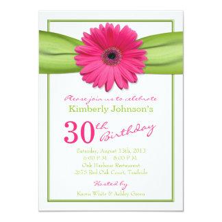 "Pink Gerbera Daisy Orange Ribbon 30th Birthday 4.5"" X 6.25"" Invitation Card"