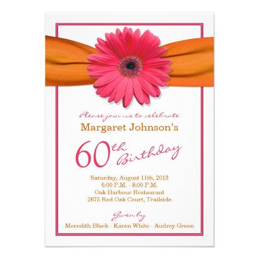 Pink Gerbera Daisy Orange Ribbon 60th Birthday Announcement