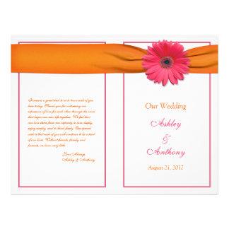 Pink Gerbera Daisy Orange Ribbon Wedding Program