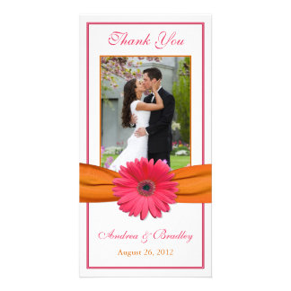 Pink Gerbera Daisy Orange Ribbon Wedding Thank You Card