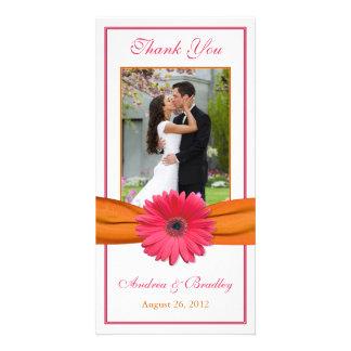Pink Gerbera Daisy Orange Ribbon Wedding Thank You Photo Card