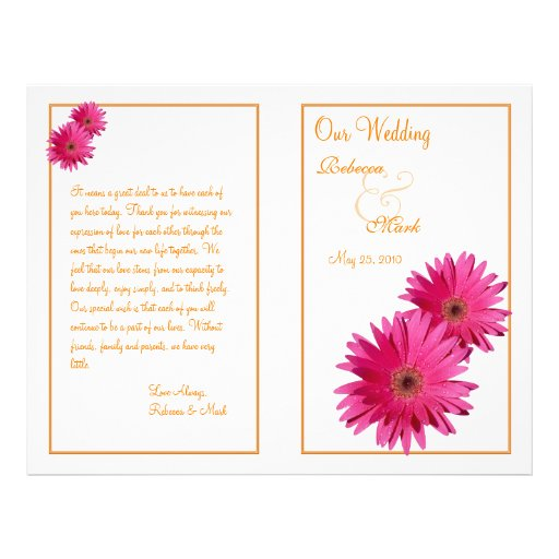 "Pink Gerbera Daisy Orange Wedding Program 8.5"" X 11"" Flyer"