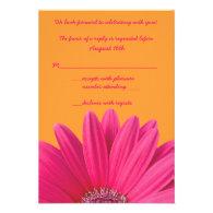 Pink Gerbera Daisy Orange Wedding RSVP Card Custom Announcement