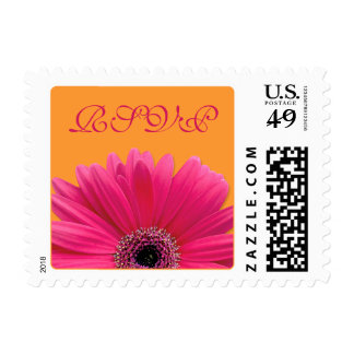 Pink Gerbera Daisy Orange Wedding RSVP Postage