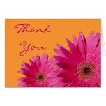 Pink Gerbera Daisy Orange Wedding Thank You Greeting Card