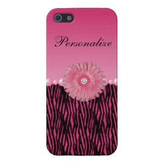 Pink Gerbera Daisy & Pearls Zebra Stripes Cover For iPhone SE/5/5s
