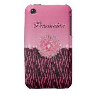 Pink Gerbera Daisy & Pearls Zebra Stripes iPhone 3 Case-Mate Case