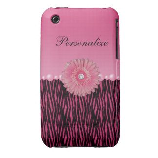 Pink Gerbera Daisy & Pearls Zebra Stripes iPhone 3 Cover