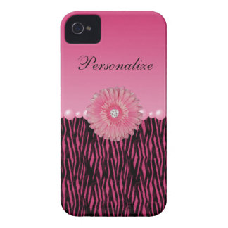 Pink Gerbera Daisy & Pearls Zebra Stripes iPhone 4 Case-Mate Cases