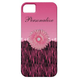 Pink Gerbera Daisy & Pearls Zebra Stripes iPhone SE/5/5s Case