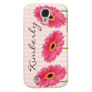 Pink Gerbera Daisy Personalize Samsung S4 Case