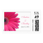 Pink Gerbera Daisy Personalized Wedding Postage