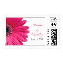 Pink Gerbera Daisy Personalized Wedding Postage