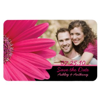 Pink Gerbera Daisy Photo Wedding Magnet