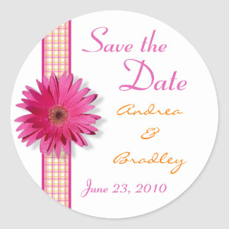 Pink Gerbera Daisy Plaid Ribbon Wedding Classic Round Sticker