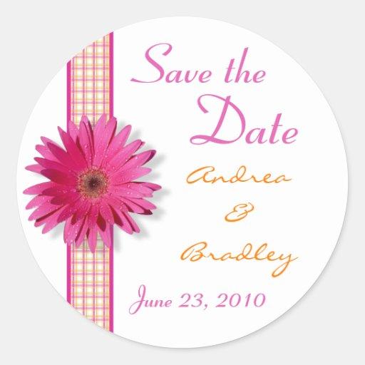 Pink Gerbera Daisy Plaid Ribbon Wedding Classic Round Sticker