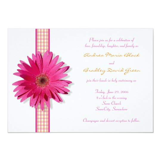 Gerbera Wedding Invitations: Pink Gerbera Daisy Plaid Ribbon Wedding Invitation