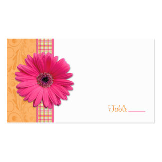 Pink Gerbera Daisy Plaid Ribbon Wedding Place Card Double-Sided Standard Business Cards (Pack Of 100)