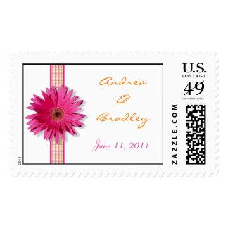 Pink Gerbera Daisy Plaid Ribbon Wedding Postage Stamp