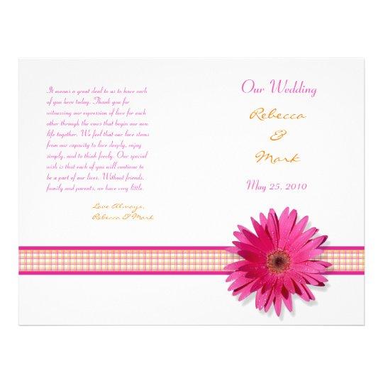 Pink Gerbera Daisy Plaid Ribbon Wedding Program