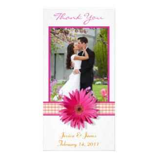 Pink Gerbera Daisy Plaid Ribbon Wedding Thank You Photo Card
