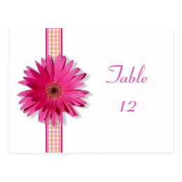 Pink Gerbera Daisy Plaid Table Number Card