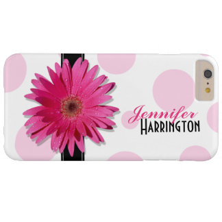 Pink Gerbera Daisy Polka Dot Barely There iPhone 6 Plus Case