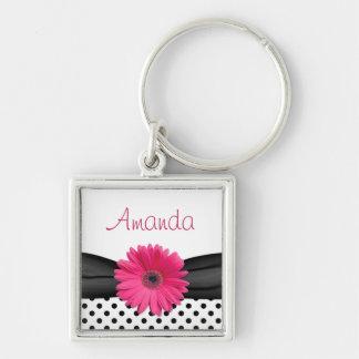 Pink Gerbera Daisy Polka Dot Custom Name Keychain