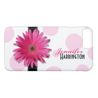 Pink Gerbera Daisy Polka Dot iPhone 7 Plus Case