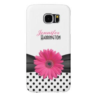 Pink Gerbera Daisy Polka Dot Samsung Galaxy S6 Case