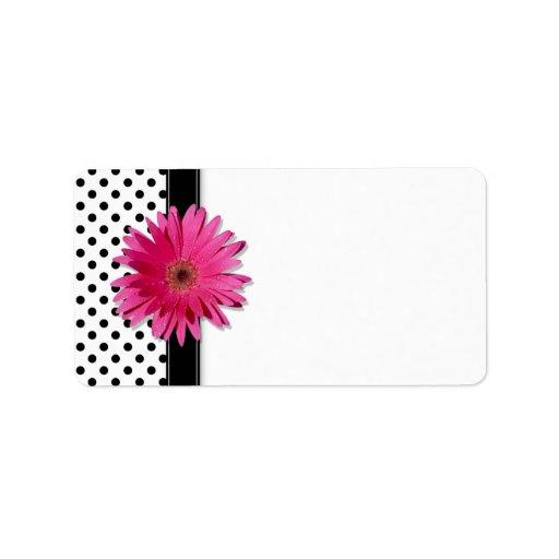 Pink Gerbera Daisy Polka Dot Wedding Blank Address Labels