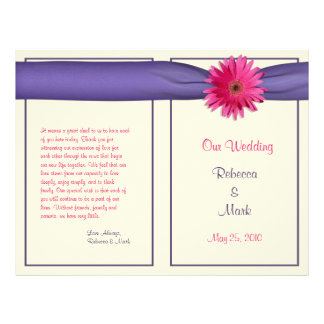 Pink Gerbera Daisy Purple Ribbon Wedding Program