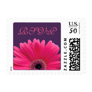 Pink Gerbera Daisy Purple Wedding RSVP Postage