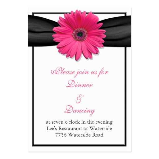 Pink Gerbera Daisy Reception Card Business Card Template