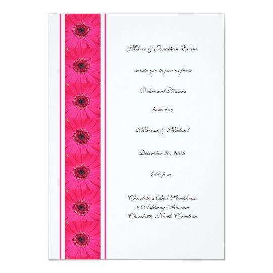 Hot Pink Gerbera Daisy White Wedding Invitation 5 X 7: Pink Gerbera Daisy Rehearsal Dinner Invitation