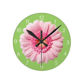 Pink Gerbera Daisy Round Wall Clock