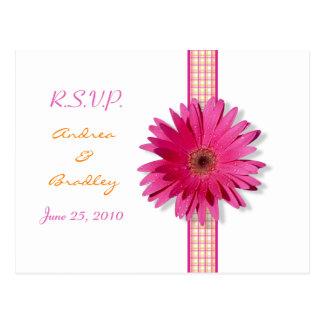 Pink Gerbera Daisy RSVP Postcard