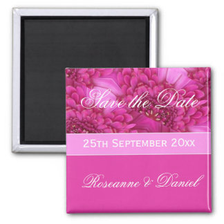 Pink Gerbera Daisy Save The Date Magnet