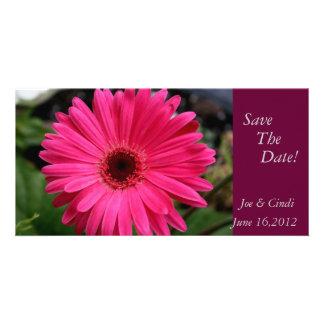 """Pink Gerbera Daisy""  Save The Date Photo Card"