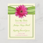 Pink Gerbera Daisy Save the Date Postcard