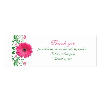Pink Gerbera Daisy Emerald Green Floral Special Occasion Favor Tags