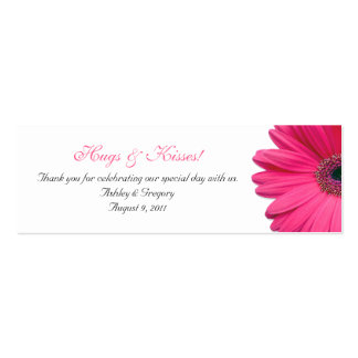 Pink Gerbera Daisy Special Occasion Favor Tags Double-Sided Mini Business Cards (Pack Of 20)