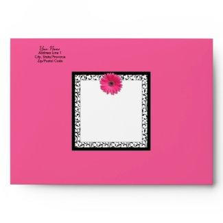 Pink Gerbera Daisy Square Envelope envelope