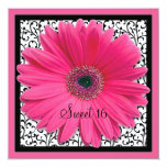 "Pink Gerbera Daisy Sweet 16 Birthday Invitation 5.25"" Square Invitation Card"