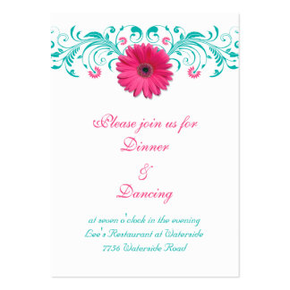 Pink Gerbera Daisy Turquoise Floral Reception Card Large Business Cards (Pack Of 100)