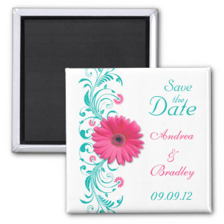 Pink Gerbera Daisy Turquoise Floral Save the Date 2 Inch Square Magnet