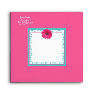 Pink Gerbera Daisy Turquoise Floral Square Envelope
